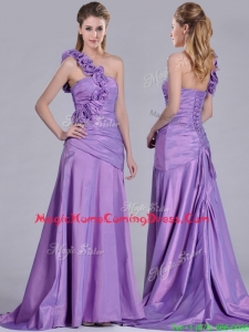 Lovely Brush Train Lilac Homecoming Dress with Hand Made Flowers Decorated One Shoulder