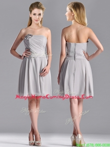 Lovely Empire Strapless Chiffon Grey Homecoming Dress with Hand Made Flower