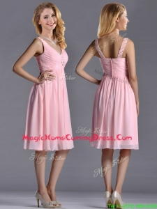 Lovely Empire V Neck Baby Pink Short Homecoming Dress with Beading