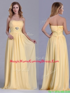Lovely Empire Yellow Long Homecoming Dress with Beading and Ruching