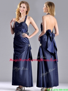 Luxurious Beaded Decorated Halter Top Homecoming Dress in Navy Blue
