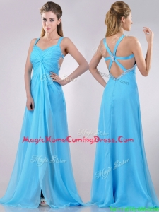 Luxurious Straps Criss Cross Beaded Long Homecoming Dress in Baby Blue