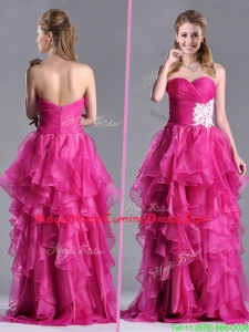 Modern Brush Train Fuchsia Homecoming Dress with Appliques and Ruffles