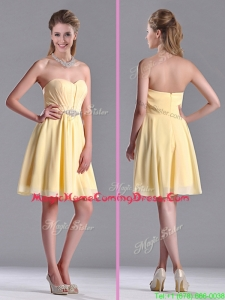 Modest Empire Chiffon Yellow Short Homecoming Dress with Beading