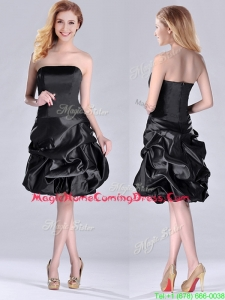 New Arrivals Strapless Taffeta Black Homecoming Dress in Knee Length