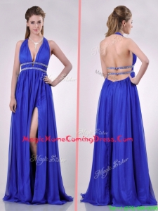 New Halter Top Blue Backless Homecoming Dress with Beading and High Slit