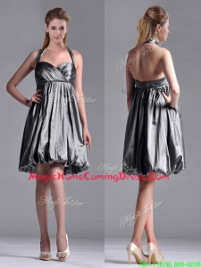 New Style Halter Top Taffeta Silver Homecoming Dress with Backless