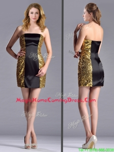 Popular Column Black and Gold Homecoming Dress in Sequins and Satin
