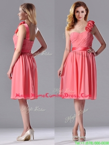 Popular Watermelon Homecoming Dress with Hand Made Flowers Decorated One Shoulder