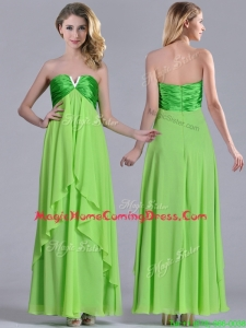 Pretty Beaded Decorated V Neck Spring Green Homecoming Dress in Ankle Length