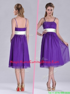 Romantic Spaghetti Straps Belted Eggplant Purple Homecoming Dress in Tea Length