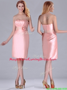 Short Strapless Knee Length Pink Homecoming Dress with Hand Crafted and Beading