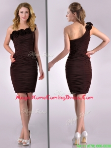Simple Column One Shoulder Hand Crafted and Ruched Side Zipper Short Homecoming Dress in Brown