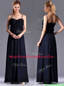 Simple Empire Straps Chiffon Ruching Navy Blue Homecoming Dress for Holiday