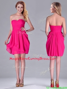 Simple Empire Sweetheart Chiffon Hot Pink Short Homecoming Dress for Homecoming