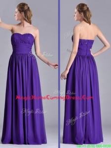 Beautiful Empire Ruched Chiffon Long Homecoming Dress in Purple