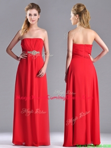 Beautiful Strapless Chiffon Red Homecoming Dress with Beading and Ruching