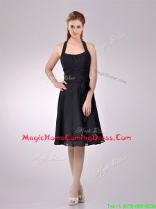 Best Selling Chiffon Halter Top Ruched Homecoming Dress in Black