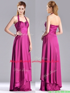 Classical Halter Top Fuchsia Long Homecoming Dress in Elastic Woven Satin