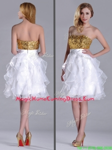 Classical Organza Sequined and Ruffled Homecoming Dress in White and Gold