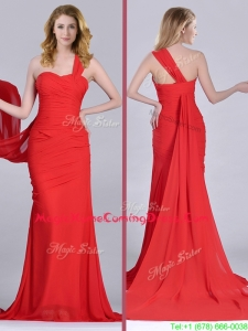 Column One Shoulder Watteau Train Coral Red Homecoming Dress with Side Zipper