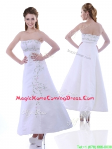 Elegant Ankle Length White Homecoming Dress with Embroidery and Beading