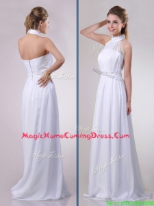 Empire Halter Top Applique Decorated Waist White Homecoming Dress in Chiffon