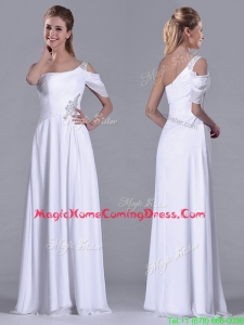 Fashionable Empire One Shoulder Beaded White Long White Homecoming Dress for Holiday