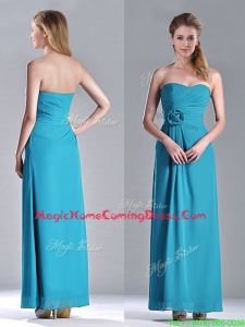 Hot Sale Ankle Length Hand Crafted Flower Homecoming Dress in Teal