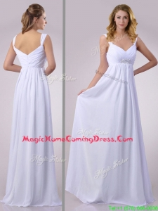 Hot Sale Empire Beaded White Chiffon Homecoming Dress with Straps