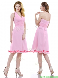 Latest Halter Top Knee Length Homecoming Dress in Baby Pink