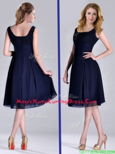 Latest Square Empire Chiffon Navy Blue Homecoming Dress with Ruching