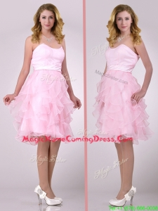 Lovely Empire Baby Pink Knee Length Homecoming Dress with Ruffles
