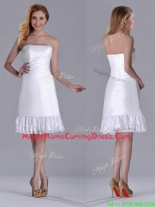 Low Price Strapless White Short Homecoming Dress in Lace and Satin