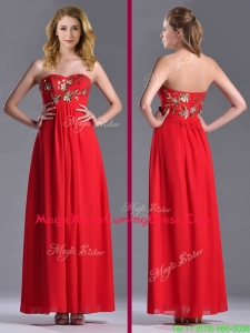 Luxurious Applique with Sequins Red Homecoming Dress in Ankle Length