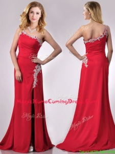 Luxurious Beaded Decorated One Shoulder and High Slit Homecoming Dress with Brush Train