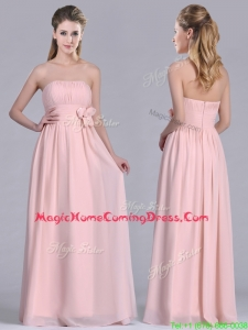 Modern Chiffon Handcrafted Flowers Long Homecoming Dress in Baby Pink