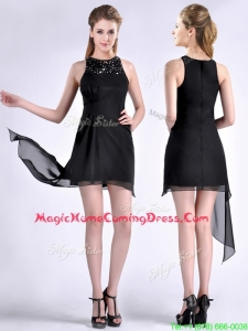 Modern Scoop Asymmetrical Black Chiffon Homecoming Dress with Beading