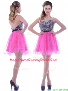 Modern Sequined Decorated Bodice Organza Hot Pink Homecoming Dress with Backless