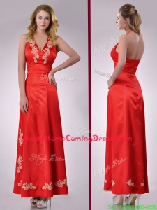 Modest Column Halter Top Backless Red Homecoming Dress with Appliques