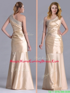New Column Beaded Decorated One Shoulder Homecoming Dress in Champagne