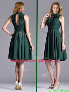New High Neck Handmade Flower Dark Green Homecoming Dress with Open Back