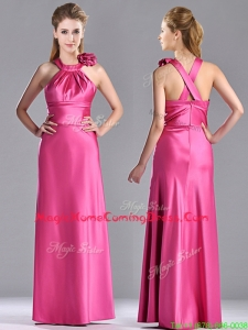 New Style Hand Crafted Flowers Hot Pink Homecoming Dress with Criss Cross