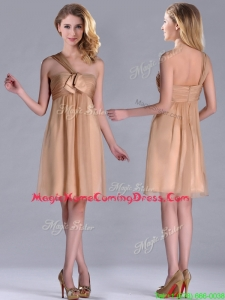 New Style One Shoulder Chiffon Short Homecoming Dress in Champagne
