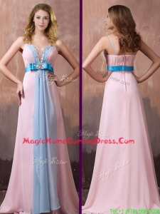 New Style Spaghetti Straps Beaded and Bowknot Homecoming Dress with Brush Train