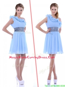 One Shoulder Light Blue Homecoming Dress with Beaded Decorated Waist and Ruffles
