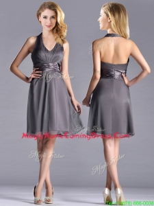Romantic Chiffon Halter Top Knee Length Homecoming Dress in Grey