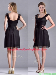 Simple Empire Square Chiffon Black Homecoming Dress with Cap Sleeves