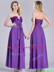 Cheap Beaded Decorated V Neck Chiffon Homecoming Dress in Eggplant Purple
