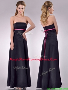 Classical Black Ankle Length Homecoming Dress with Hot Pink Belt